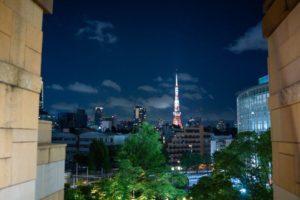 六本木ヒルズから東京タワーを背景に