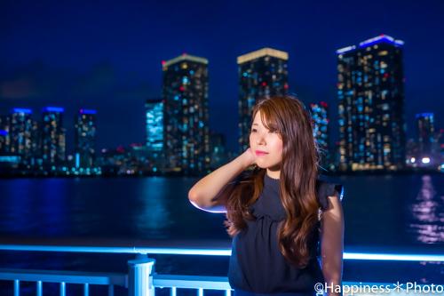 豊洲でブルーアワーの夜間ポートレート撮影